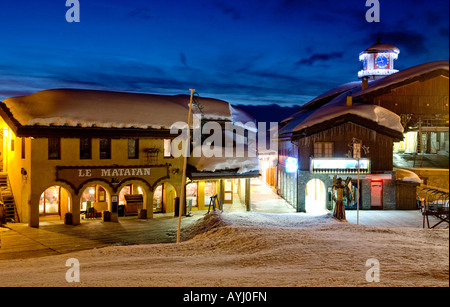Belle Plagne At Sunset La Plagne The French Alps France Europe - Stock Photo