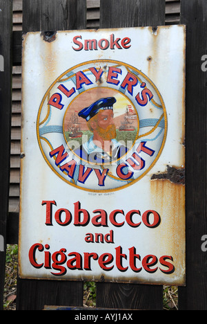 Blists Hill Victorian Town in Telford Shropshire Enamel advertising sign for Players Navy Cut tobacco and cigarettes - Stock Photo
