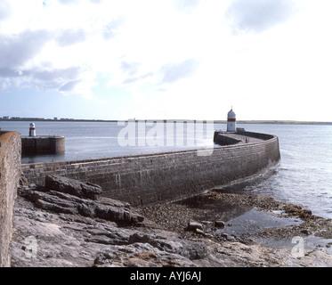 Stone harbour breakwater, Castletown, Isle of Man - Stock Photo