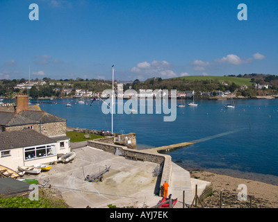 Looking towards Flushing from Falmouth with Royal Cornwall Yacht Club in the foreground - Stock Photo