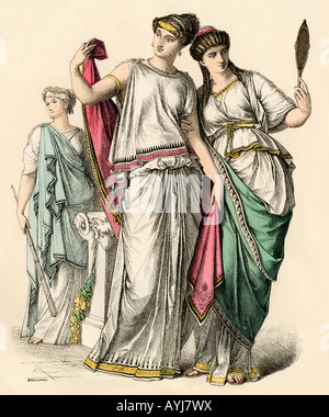 Ancient Greek women and a priestess. Hand-colored print - Stock Photo