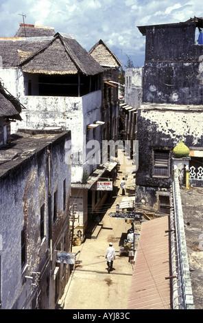 Looking down on Main Street in Lamu Town Lamu Island Kenya East Africa - Stock Photo