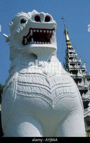 Lion statue at the foot of Mandalay Hill Mandalay Myanmar - Stock Photo