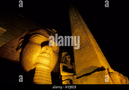 Head of Ramses II and Obelisk Luxor Temple Luxor Egypt - Stock Photo