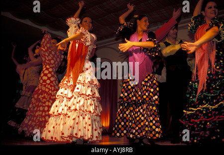 Seville flamenco show for tourists in tablao - Stock Photo