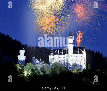 DE - BAVARIA: Fireworks over Neuschwanstein Castle - Stock Photo