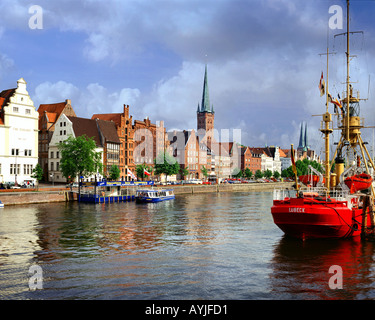 DE -  SCHLESWIG HOLSTEIN: River Trave and Hansestadt Lübeck - Stock Photo