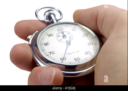 Close up of a hand holding a stopwatch thats stopped at 60/100th of a second Isolated on a white background - Stock Photo
