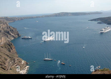 view of Mediterranean sea from Fira - Stock Photo