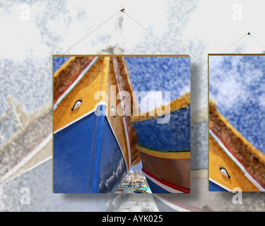 MT - MALTA:  Marsaxlokk Harbour (Digital Art) Stock Photo