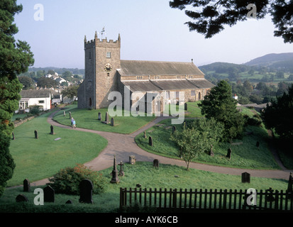 Hawkshead Lake District parish Church Of St Michael All Angels with part of graveyard village associated with Beatrix - Stock Photo