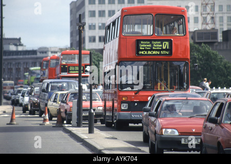 London Waterloo Bridge traffic queue resulting from the closing of the underpass - Stock Photo