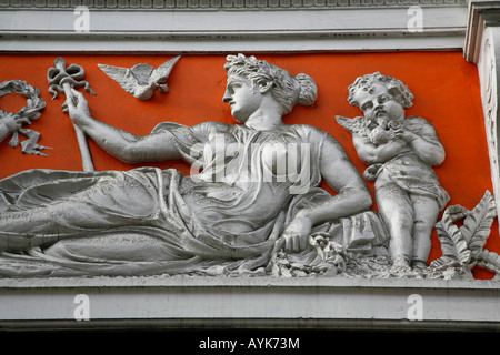 Classical frieze decorating the Royal Arcade on Old Bond Street, Mayfair, London - Stock Photo