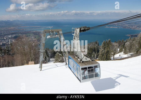 Austria, Vorarlberg, Bregenz, view from the mountain Pfaender 1064 m onto the lake Constance and the Pfaender cable - Stock Photo