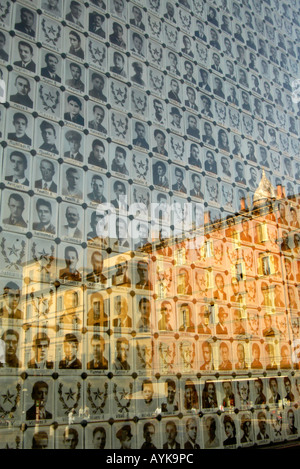 Bologna Reflection of Bologna in photographs of martyrs of the Second World War upright vertical portrait - Stock Photo