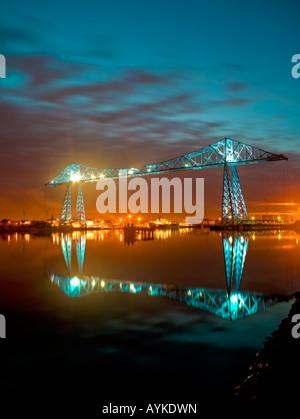 Transporter Bridge at dusk Middlesbrough North East England - Stock Photo