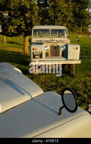grey 1963 Land Rover Series 2a short wheel base truck cab - Stock Photo