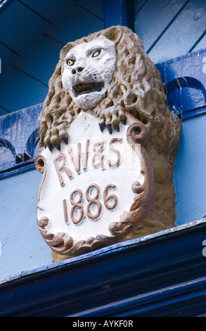 Detail on front facade of Richard Booths Bookshop Hay on Wye Powys Wales UK EU the World's largest secondhand bookshop - Stock Photo