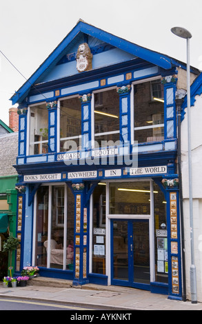 Front facade of Richard Booths Bookshop Hay on Wye Powys Wales UK EU the World's largest secondhand bookshop - Stock Photo