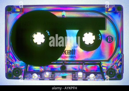audio tape cassette in polarized light - Stock Photo