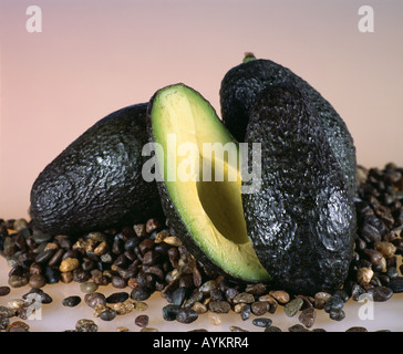 AVOCADO CUT IN HALF SHOWING SEED AND MEAT STUDIO (PERSEA AMERICANA) - Stock Photo