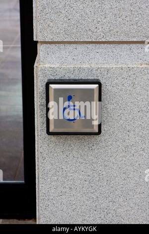 Handicap Wheelchair Automatic Door Opener Sensor Button - Stock Photo