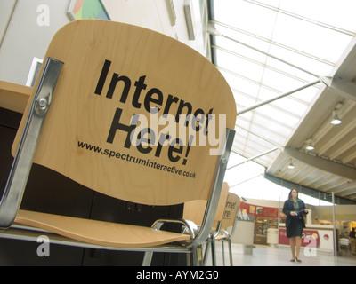 Internet access point at Southampton Airport England UK - Stock Photo