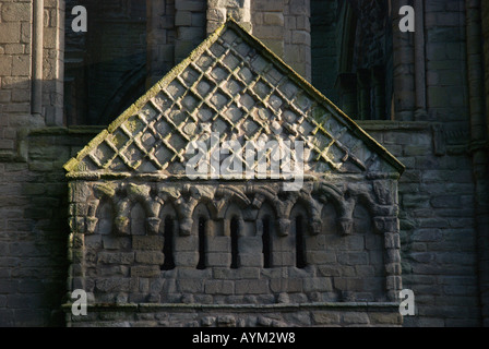 Timpanum of North Door Kelso Abbey Scottish Borders UK 12th century Tironensian founded by King David 1st - Stock Photo
