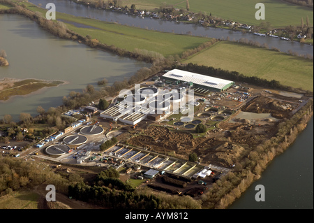 Aerial view of sewage works near Marlow and River Thames Buckinghamshire England UK - Stock Photo