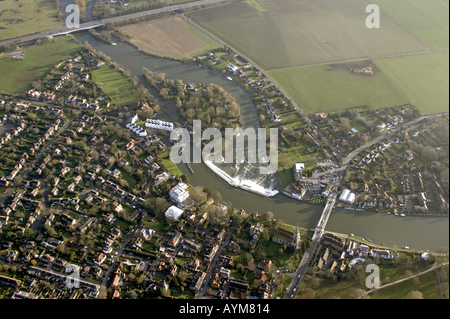 Aerial view of Marlow weir and River Thames Buckinghamshire England UK - Stock Photo