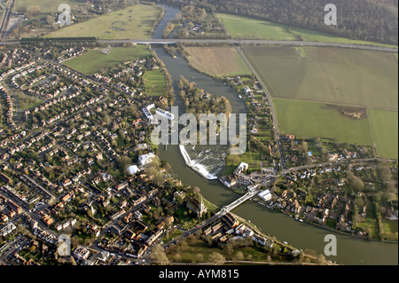 Aerial view of Marlow and River Thames Buckinghamshire England UK - Stock Photo