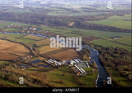 Aerial view of Bisham area near Marlow and River Thames Buckinghamshire England UK - Stock Photo