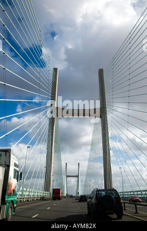 The second river severn crossing suspension bridge England and Wales - Stock Photo