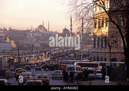 ISTANBUL, TURKEY. Rush hour in Beyoglu looking across the Galata Bridge from Karakoy towards Eminonu 2006. - Stock Photo