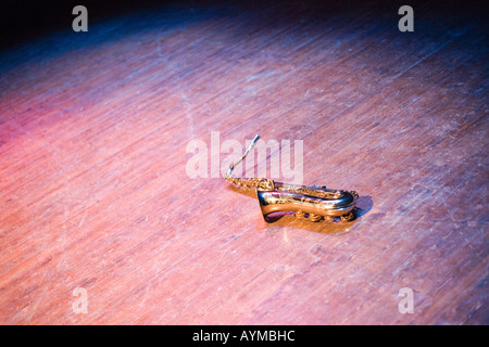 instruments on a stage during a jazz concert - Stock Photo