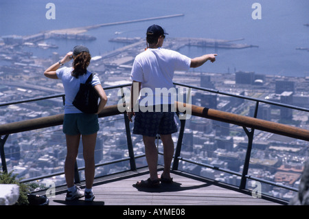Couple on viewing deck Table Mountain Cape Town South Africa RSA - Stock Photo