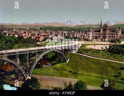 View from Hotel Bellevue into Bern, with Kirchenfeldbruecke, Switzerland - Stock Photo
