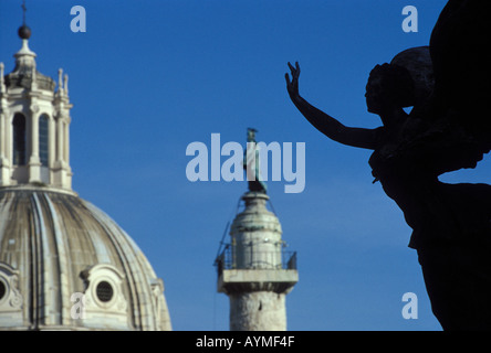 Italy Rome View from the Victor Emmanuel monument to the dome of the Church of Madonna del Loreto (left) & Trajan - Stock Photo