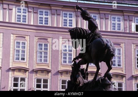 Czech Republic, Prague Castle, St. George Statue in the courtyard, Prazsky Hrad - Stock Photo