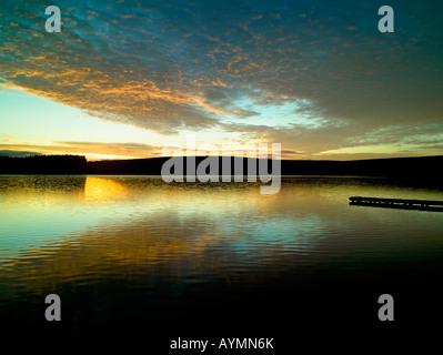 Winter Dawn over Lockwood Reservoir near Guisborough North York Moors National Park Yorkshire England - Stock Photo