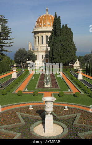 Israel Haifa Bahai gardens and shrine view with garden in frgd and temple in bkgd vertical - Stock Photo