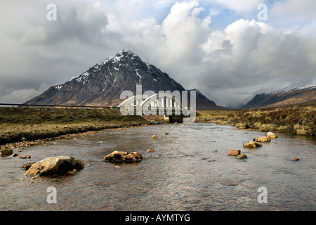 River and Road Bridge at Buachaille Etive Mor at Glencoe, Glen Coe in the Lochaber area of the Scottish Highlands, - Stock Photo