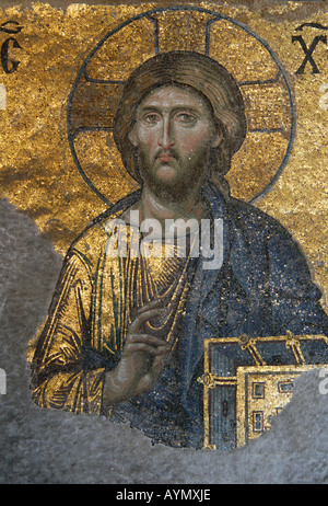 Jesus Christ depicted in the Byzantine mosaic in the interior of Hagia Sophia in Istanbul, Turkey - Stock Photo