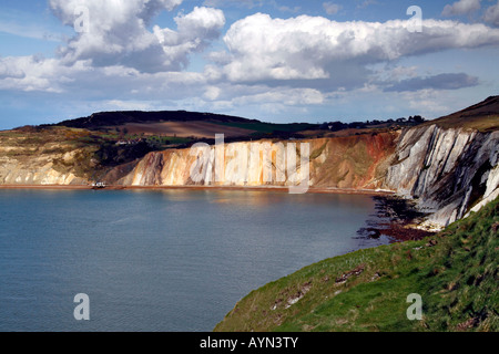 A view of Alum Bay from the Needles, Isle of wight - Stock Photo