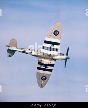 WWII Supermarine Spitfire Mk IX MH434 flying in UK - Stock Photo