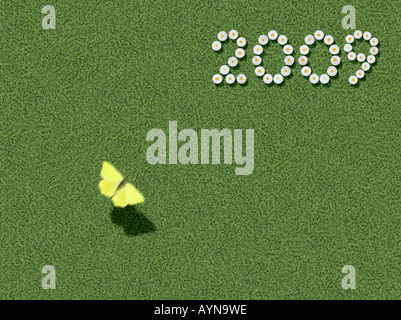 year written with flowers spelled out prewritten edited - Stock Photo