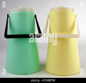 household, dishes / vessels, two polyethylene milk churn, produced by VEB Presswerk Tambach, GDR, 1970s, Additional - Stock Photo