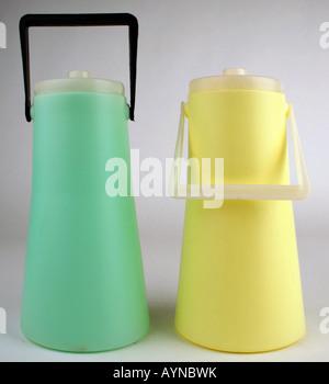 household, dishes / vessels, two polyethylene milk churn, produced by VEB Presswerk Tambach, GDR, 1970s, Additional - Stock Photo
