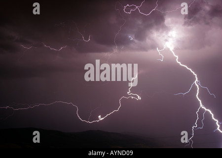 Lightning over the Absaroka Mountains of Wyoming - Stock Photo