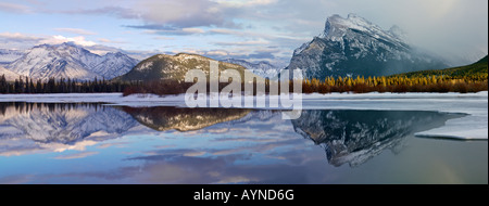 Canada Alberta Banff Banff National Park,Vermilion Lakes in winter with Fairholme Mountain Range and Mount Rundle - Stock Photo